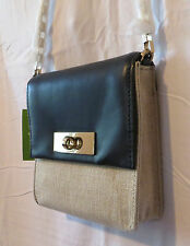 KATE SPADE New York SHANE-LINCOLN SQUARE FABRIC/LEATHER BAG- NAVY/NATURAL - $238