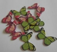 PRETTY GREEN & PINK BUTTERFLYS EMBELLISHMENT TOPPERS FOR CARDS AND CRAFTS