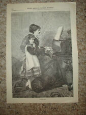 ANTIQUE PRINT MUSIC INSTRUMENT PIANO MOTHER DAUGHTER NR