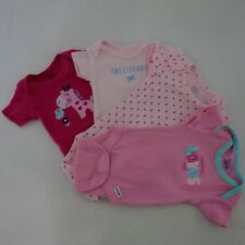 Carters Gerber Onesies Lot Of 4 Set Girls Size NB Rompers One Piece EUC [T12]