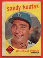 1959 Topps #163 Sandy Koufax VG-VGEX+ WARPED STAIN Brooklyn Los Angeles Dodgers