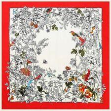LUXURY Twill Silk Scarf Floral Print Shawl Women Large Square Scarves Wrap 130cm