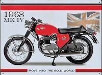PLAQUE métal moto vintage BSA 1968 MK IV  - 40 x 30 cm