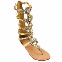 Womens Rhinestone Zipper Gladiator Flats Beach Strap Thong Sandals Shoes Summer