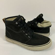 Sperry Top Spider Bahama Lug Boot Ankle High Naval Black Canvas Men's Size 9