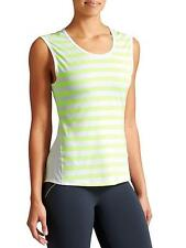 Athleta Ocean Stripe Chi Muscle Tank, Top, Highlighter Yellow/White, S, NWT