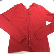 c59748b5ed490 Marshall Field's 100% Cashmere Sweater Red Cardigan w/flaw Size S Small