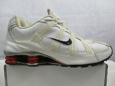 USED Mens Nike Shox NZ SI Plus GS White Red Silver Trainers Size UK 10