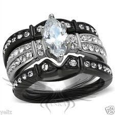 Set 5 6 7 8 9 10 Tk1922 Brilliant Marquise Cubic Zircon Cz Aaa Black Ip Wedding