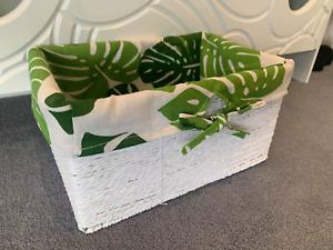 Luxury White Hamper Style Storage Basket Wicker With Unique Lining Bathroom Kids