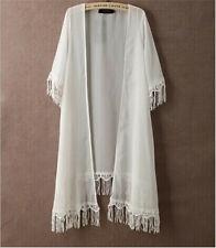Women Chiffon Kimono Cardigan Long Loose Blouse TASSEL Beach Cover Up Coats Tops