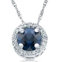 "1/2ct Blue Sapphire & Diamond Halo Vintage Pendant 14k White Gold & 18"""