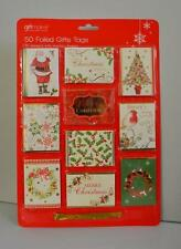 50  Foiled Christmas Present Gift Tags - 10 Design , Gold Thread Xmas Tags