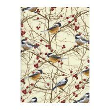 Christmas Winter Fabric - Chickadee Berry Cream - Timeless Treasures YARD