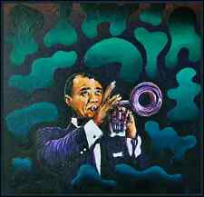 'Louis Armstrong' expressionist painting on canvas - by Cliff Howard