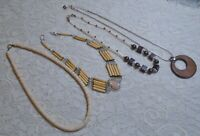 VINTAGE TO NOW ASSORTED LUCITE & WOOD BEADED BOHO CHOKER NECKLACE LOT