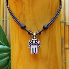 Leather Necklace Hand of Fatima Hamsa Mens Ladies