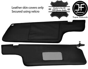 BLACK STITCHING 2X SUN VISORS LEATHER COVERS FITS NISSAN 300ZX Z31 1984-1989