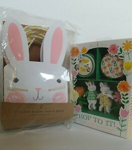 MERI MERI Hop To It Bunny 24 CUPCAKE Cases & Toppers  - 8 Funny Bunny Party Bags