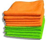 "10 Pack Premium Quality Orange & Green Microfibre Cloths - Large 40x40cm (16""..."