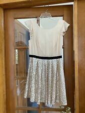 Forever 21 Champagne and Cream Sparkle Dress With Black Belt
