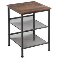 3-Tier Industrial End Side Table Nightstand W/2 Adjustable Shelves Rustic Brown