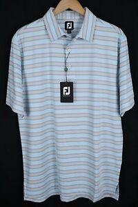 NWT FootJoy FJ Mens sz Large Lisle Traditional Ice Blue Striped Golf Polo Shirt