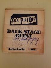 Original Rare 1978 Sex Pistols U.S. Tour Back Stage Guest Pass signed security