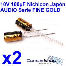 2 x CONDENSADOR ELECT. JAPON NICHICON AUDIO 10V 100 uF 85º FINE GOLD Ø6.3x11mm
