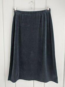 Talbots Womens Petite Large PL LP Skirt Aline Pull On Waist Green Velvet Midi