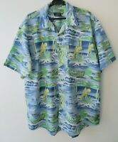 "Vintage Carlo Comberti Tropical Hawaiian Shirt Beach Surf  52""-132cm XL (1191H)"