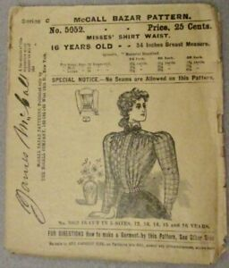 JAMES McCALL ANTIQUE PATTERN 5052 MISSES SHIRT WAIST 16 YEAR OLD 34 INCH BREAST