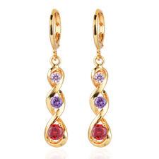 Women Colorful Gold Plated CZ Cubic Zirconia Long Dangle Drop Earrings Jewelry