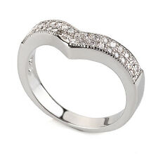 Luxury Engagement Wedding Platinum Plated Wave Ring large size Q 18 mm FR160
