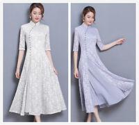 Chinese Style Cotton Lace Women's Long Slim Gown Shift Dress Cheongsam S-3XL