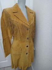 SCULLY Womens Texas Style Dark Beige GENUINE LEATHER SUEDE Fringe Coat Jacket 10