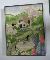 Vintage Hand Embroidered Framed Needlework Country Birds Birdbath Home
