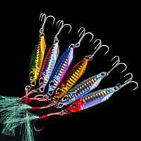 6pcs Jigging Lead Fish 7-50G Metal Fishing Lure Jig Hard Baits Jig Treble Hooks