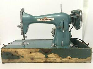 Vintage Canadian Kenmore Model C877 15 Heavy Duty Sewing Machine Green