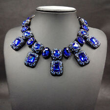 BEAUTIFUL ZARA BLUE FACETED SPARKLING STONES STATEMENT NECKLACE – NEW