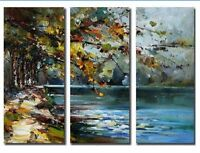 CHOP40 100% handpainted abstract landscape of lake oil painting art on canvas