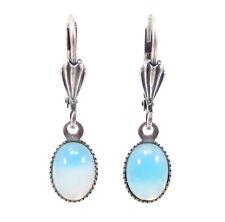 SoHo® Ohrhänger Ohrringe oval bohemia Glas altsilber 1960s sabrina blau handmade