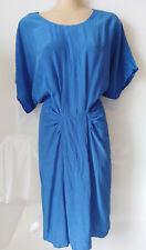 LAURA ASHLEY Blue gathered front silk dress. Size 10