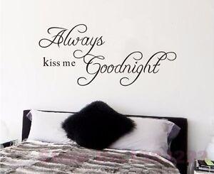 Спальня цитата всегда поцелуй меня спокойной ночи искусства стены стикер Цена дизайн Винил