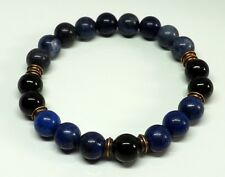 Sodalite Black Onyx Lapis Lazuli 8mm Gemstone Bracelet Lower Blood Pressure Mala