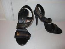 WOMENS BCBG MAX AZRIA BLACK LEATHER SANDAL PUMPS W/ ZIPPER DETAIL SIZE 9 1/2