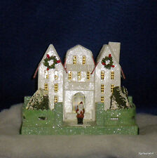 Radko WHITE Putz Miniature House Shiny Brite SPARKLE TOWN RARE NEW NIP Retired