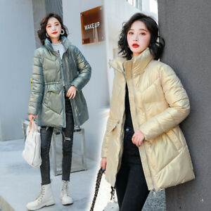 New Women Winter Glossy Jacket Ladies Down Cotton Coat Stand Collar Outerwear