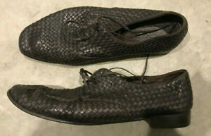 Salvatore Ferragamo Mens Leather Shoes Brown platted woven UK11 US12 EEE VGC
