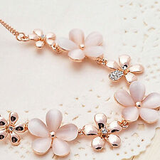 WOMEN'S ROSE GOLD PLATED FLOWERS OPAL RHINESTONES PENDANT CHAIN NECKLACE GROOVY